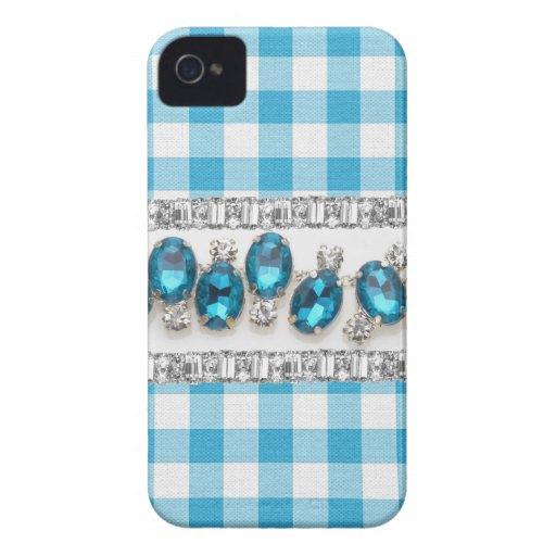 COQUE IPHONE bleu de contrôle, de fausse pierre et Étuis iPhone 4