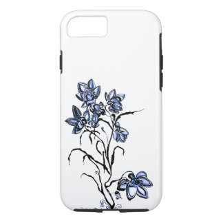 Coque iphone bleu de fleur
