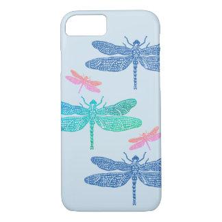 Coque iphone bleu et rose de libellule