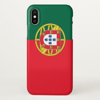 Coque iphone brillant avec le drapeau du Portugal