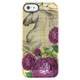 Coque iPhone Clear SE/5/5s Chevaux et roses
