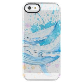 Coque iPhone Clear SE/5/5s Éclaboussure de couleur de baleines bleues