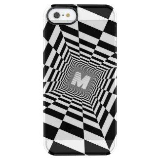 Coque iPhone Clear SE/5/5s Illusion optique noire et blanche, monogramme