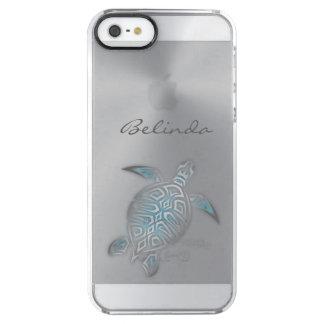Coque iPhone Clear SE/5/5s Monogramme clair argenté animal de tortue de mer