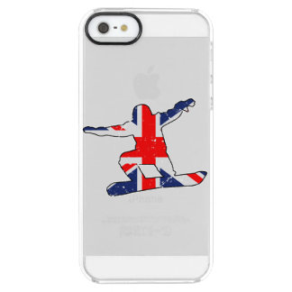 Coque iPhone Clear SE/5/5s SURFEUR d'Union Jack (noir)