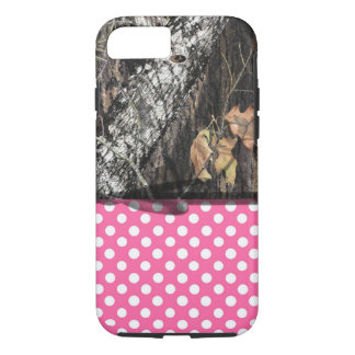 Coque iphone de Camo et de rose/blanc de polka de