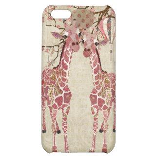 Coque iphone de girafes de fleurs de cerisier coques pour iPhone 5C