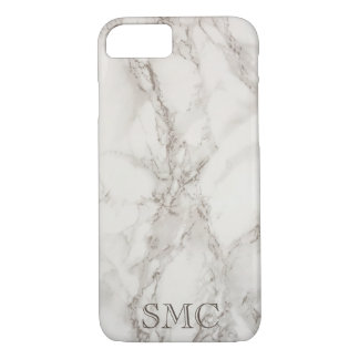 Coque iphone de marbre blanc de monogramme coque iPhone 7