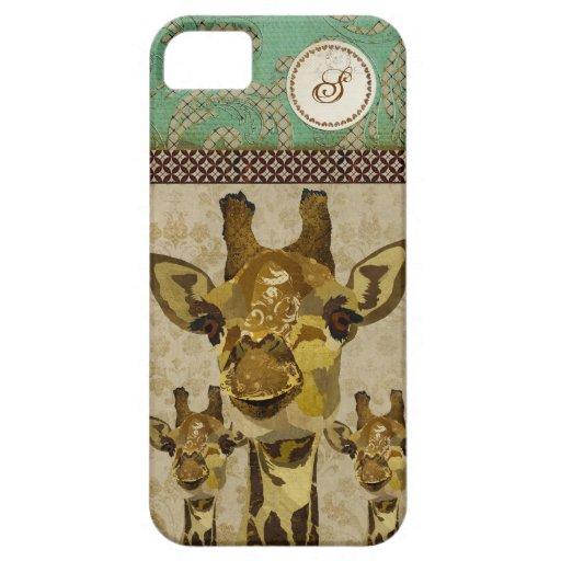 Coque iphone d'or de monogramme de girafes de dama coque iPhone 5