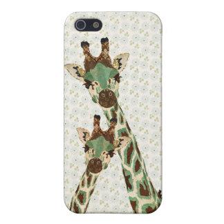 Coque iphone floral de girafes turquoises étuis iPhone 5