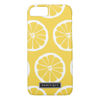 Coque iphone jaune de motif de tranches de citron