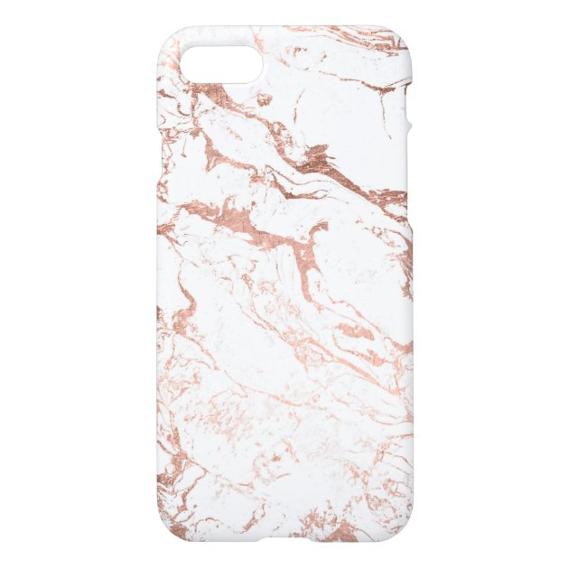 Coque iPhone Marbre blanc rose d'or chic moderne | Zazzle.fr