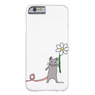 Coque iphone mignon d'art de souris et de fleur coque iPhone 6 barely there