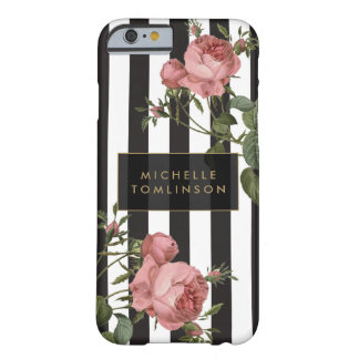 Coque iphone personnalisé rayé floral vintage coque barely there iPhone 6