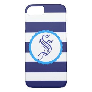Coque iphone rayé bleu nautique personnalisable
