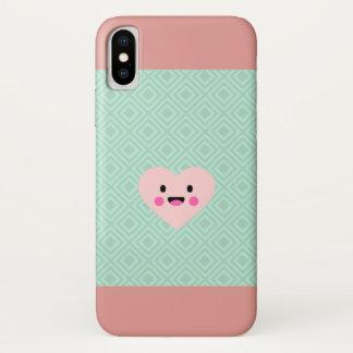 Coque iphone Rose-vert en pastel de coeur
