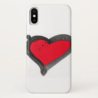 Coque iphone rouge de coeur de brosse