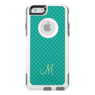 Coque iphone turquoise d'OtterBox de monogramme de