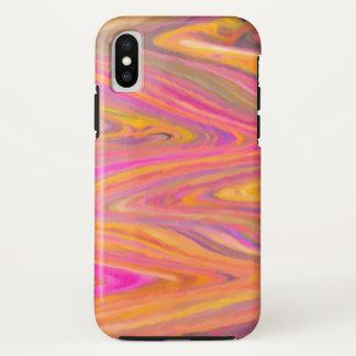 Coque iPhone X Abrégé sur rose, jaune et violet rayure de zigzag