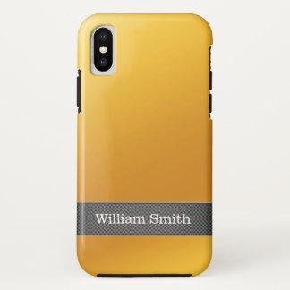 Coque iPhone X Affaires de luxe d'or et de carbone