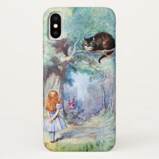 Coque iPhone X Alice chez le chat de Cheshire du pays des