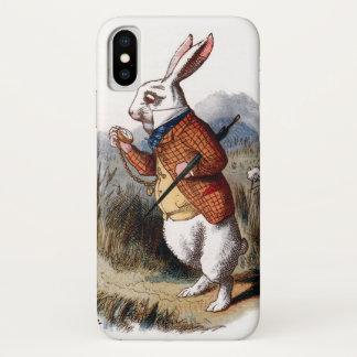 Coque iPhone X Alice chez le lapin de blanc du pays des