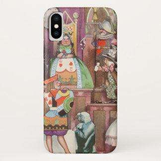 Coque iPhone X Alice vintage au pays des merveilles, reine des