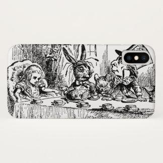 Coque iPhone X Alice vintage au pays des merveilles, scène de thé