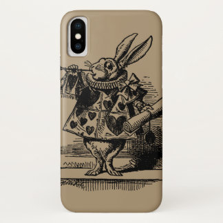 Coque iPhone X Alice vintage chez le lapin blanc du pays des