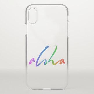 Coque iPhone X Aloha - lettrage tropical de main - Hawaï Hawai'i