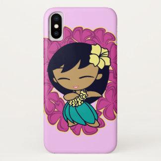 Coque iPhone X Aloha Plumeria hawaïen Lei de fille de danse
