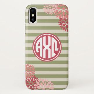 Coque iPhone X Alpha motif de rayure de monogramme d'Omega | de