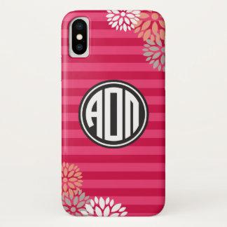 Coque iPhone X Alpha motif de rayure de monogramme d'Omicron pi |