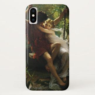 Coque iPhone X Amants sur une oscillation. Ressort par le berceau