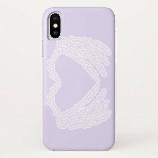 Coque iPhone X Amour dans la caisse pourpre en pastel de