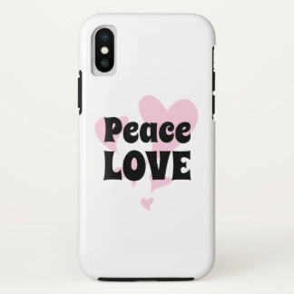 Coque iPhone X Amour de paix sur flotter les coeurs roses