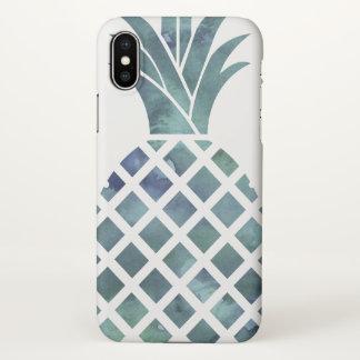 Coque iPhone X Ananas bleu de regard d'aquarelle