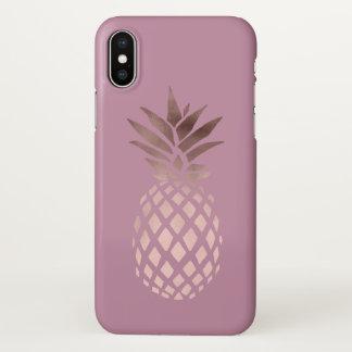 Coque iPhone X ananas tropical de poussin d'or rose élégant
