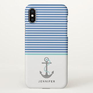 Coque iPhone X Ancre grise et aqua bleu de rayures de blanc