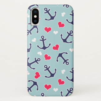 Coque iPhone X Ancres et motif nautiques de coeurs