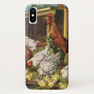 Coque iPhone X Animaux de ferme vintages, coq, poules, poulets