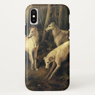Coque iPhone X Animaux vintages, chiens de lévrier dans la forêt