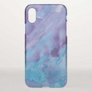 Coque iPhone X Aquarelle assez bleue et pourpre