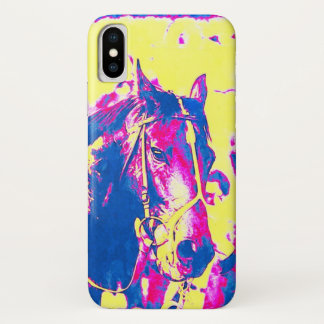 Coque iPhone X Aquarelle de cheval de course de pur sang de