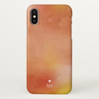 Coque iPhone X Aquarelles d'automne - monogramme et coeur