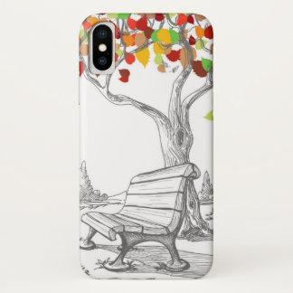 Coque iPhone X Arbre d'automne, feuille en baisse