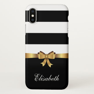 Coque iPhone X ARC d'or de rayures audacieuses noires Girly