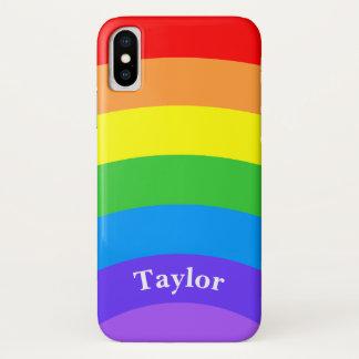 Coque iPhone X Arc-en-ciel lumineux avec le nom personnalisé
