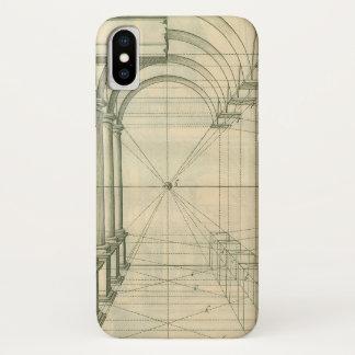 Coque iPhone X Architecture vintage, perspective de colonnes de