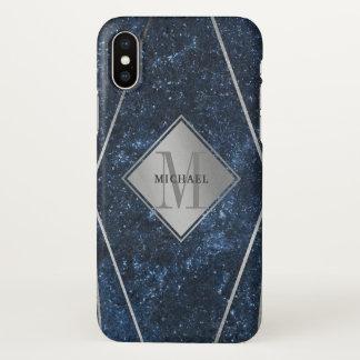 Coque iPhone X Argent bleu de granit de monogramme masculin